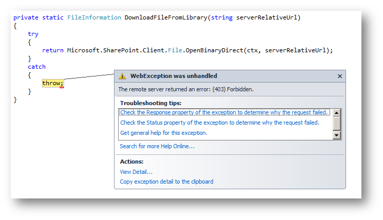 How to fix SharePoint Online (403) Forbidden Error while downloading